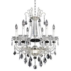 Campra Two-Tone Silver Six-Light Chandelier with Firenze Clear Crystal