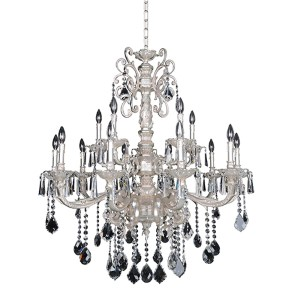 Marcello Antique Silver 15-Light Chandelier with Firenze Clear Crystal