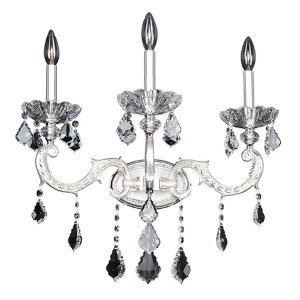 Casella Two-Tone Silver Three-Light Wall Bracket with Firenze Clear Crystal