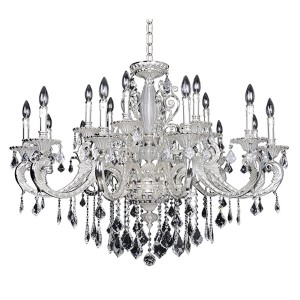 Casella Two-Tone Silver 18-Light Chandelier with Firenze Clear Crystal