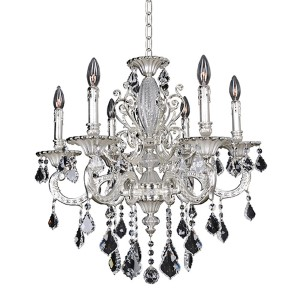 Casella Two-Tone Silver Six-Light 25-Inch Wide Chandelier with Firenze Clear Crystal