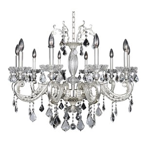 Casella Two-Tone Silver 10-Light 34-Inch Wide Chandelier with Firenze Clear Crystal