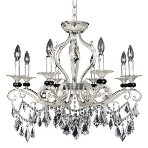 Donizetti Two-Tone Silver Eight-Light Chandelier with Firenze Clear Crystal