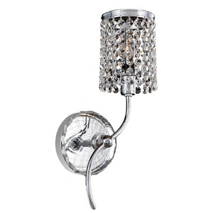 Florien Chrome One-Light Right Wall Bracket with Firenze Clear Crystal