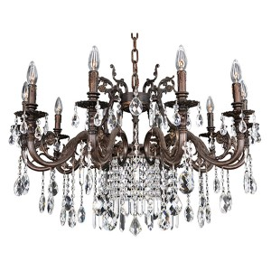 Avelli Sienna Bronze and Antique Silver Leaf 10-Light Chandelier with Firenze Clear Crystal