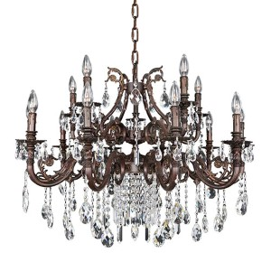 Avelli Sienna Bronze and Antique Silver Leaf 15-Light Chandelier with Firenze Clear Crystal