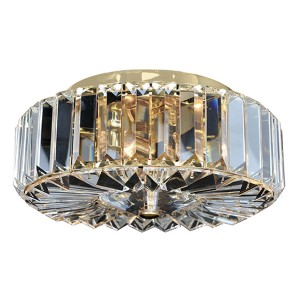 Julien 18K Gold Two-Light Flush Mount with Firenze Clear Crystal