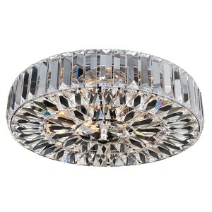 Julien Chrome Four-Light Flush Mount with Firenze Clear Crystal