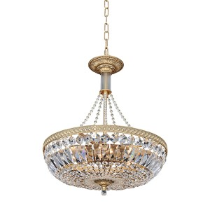 Aulio Chrome Eight-Light Bowl Pendant with Firenze Clear Crystal