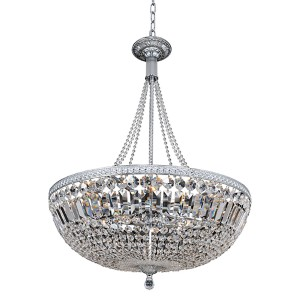 Aulio Chrome 11-Light Bowl Pendant with Firenze Clear Crystal