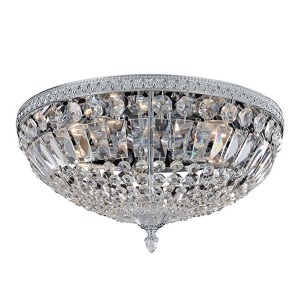 Lemire Antique Gold Five-Light Flush Mount with Firenze Clear Crystal