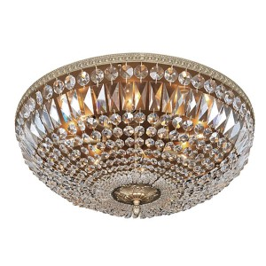 Lemire Antique Gold Eight-Light Flush Mount with Firenze Clear Crystal