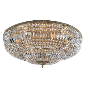 Lemire Antique Gold 14-Light Flush Mount with Firenze Clear Crystal