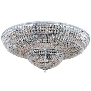 Lemire Chrome 24-Light Flush Mount with Firenze Clear Crystal