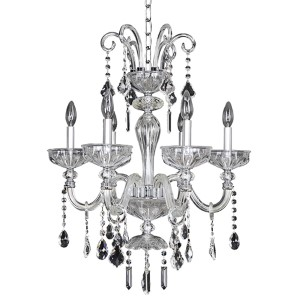 Clovio Chrome Six-Light 23-Inch Wide Chandelier with Firenze Clear Crystal