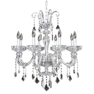Clovio Chrome Eight-Light 28-Inch Wide Chandelier with Firenze Clear Crystal