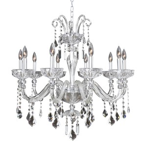 Clovio Chrome 10-Light 32-Inch Wide Chandelier with Firenze Clear Crystal