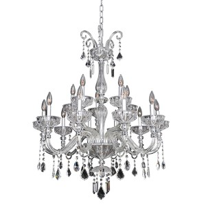 Clovio Chrome 15-Light 32-Inch Wide Chandelier with Firenze Clear Crystal