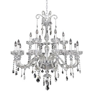 Clovio Chrome 18-Light 39-Inch Wide Chandelier with Firenze Clear Crystal