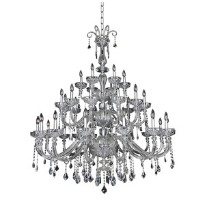Clovio Chrome 34-Light 53-Inch Wide Chandelier with Firenze Clear Crystal
