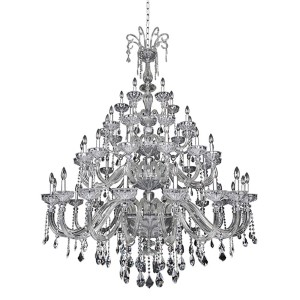 Clovio Chrome 50-Light 60-Inch Wide Chandelier with Firenze Clear Crystal