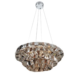 Gehry Chrome Eight-Light 24-Inch Wide Bowl Pendant with Firenze Mixed Crystal