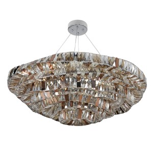 Gehry Chrome 21-Light 39-Inch Wide Bowl Pendant with Firenze Mixed Crystal