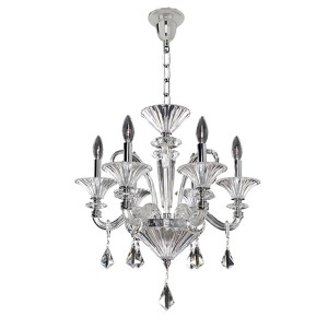 Chauvet Polished Chrome Six-Light 21-Inch Wide Chandelier with Firenze Clear Crystal