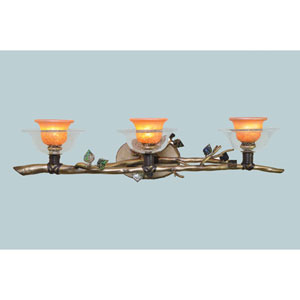 Cottonwood Aged Silver Three Light Bath Fixture with Hand Painted Art Glass