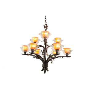 Cottonwood Sienna Bronze Nine-Light Chandelier with Hand Painted Art Glass