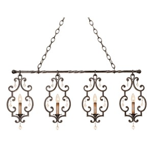 Montgomery Vintage Iron Four-Light 38.5-Inch Wide Island Pendant