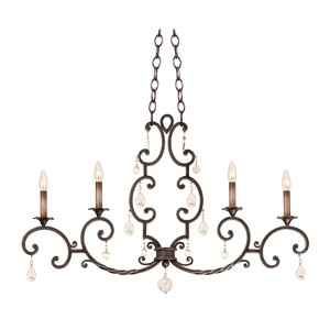 Montgomery Vintage Iron Four-Light 44-Inch Wide Island Pendant
