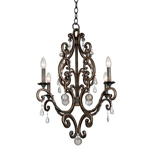 Montgomery Antique Copper Four-Light Chandelier