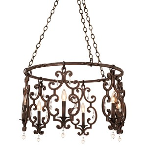 Montgomery Antique Copper Six-Light Chandelier