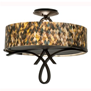 Grayson Heirloom Bronze Two-Light Semi-Flush