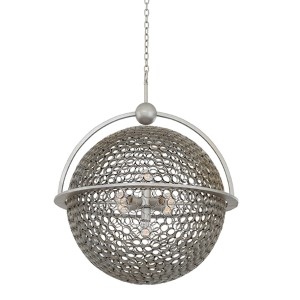 Marrero Aged Silver Five-Light 26-Inch Wide Pendant