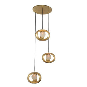 Calistoga Gold Leaf Three Light Pendant