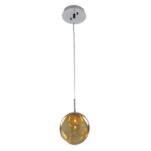 Meteor Chrome 1-Light 6-Inch Mini Pendant with Amber Glass