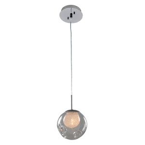 Meteor Chrome 1-Light 6-Inch Mini Pendant with Clear Glass