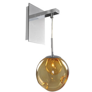 Meteor Chrome 1-Light 6-Inch Wall Bracket with Amber Glass