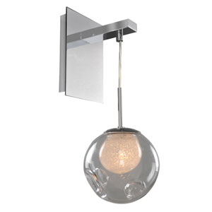 Meteor Chrome 1-Light 6-Inch Wall Bracket with Clear Glass