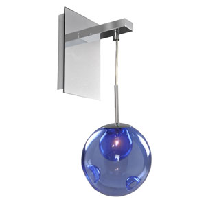 Meteor Chrome 1-Light 6-Inch Wall Bracket with Sapphire
