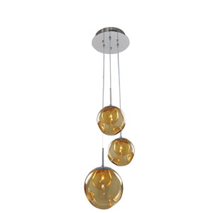 Meteor Chrome 3-Light 10-Inch Pendant with Amber