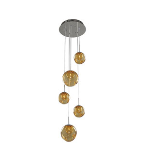 Meteor Chrome 5-Light 15-Inch Pendant with Amber Glass