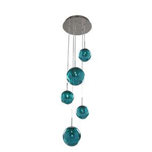 Meteor Chrome 5-Light 15-Inch Pendant with Aqua Glass