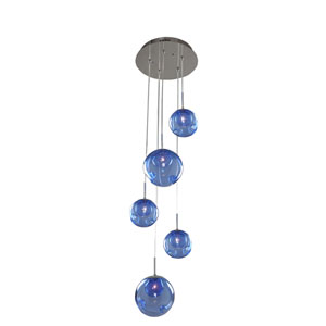 Meteor Chrome 5-Light 15-Inch Pendant with Sapphire Glass