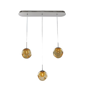 Meteor Chrome 3-Light 32-Inch Island Pendant with Amber Glass