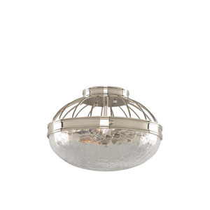 Montauk Polished Nickel Two Light Flush Mount