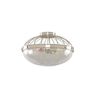 Montauk Polished Nickel Three Light Sixteen Inch Flush Mount