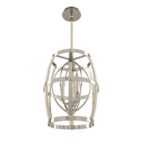 Bradbury Polished Nickel Three Light Pendant